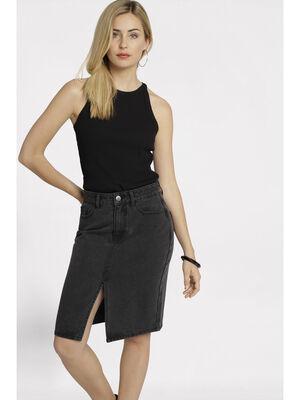 Jupe crayon taille standard denim noir femme