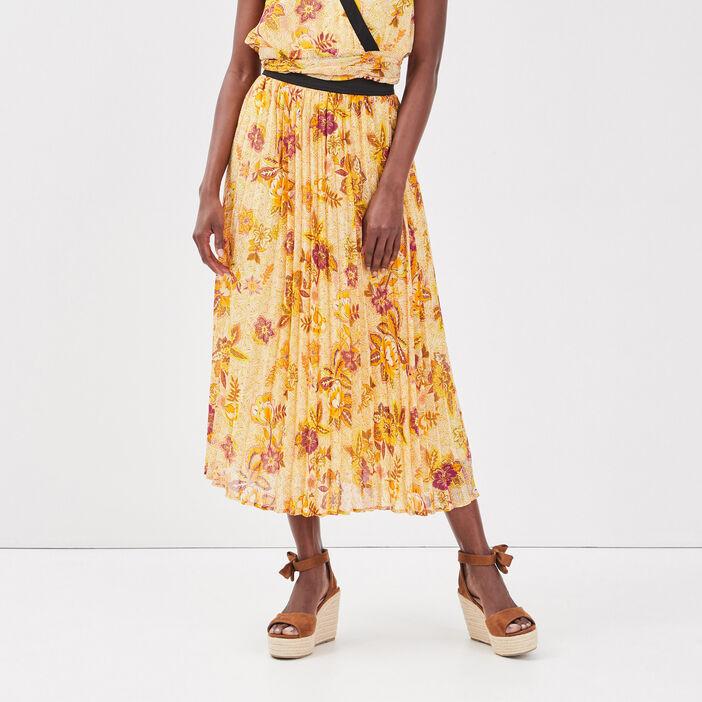 Jupe longue évasée plissée creme femme