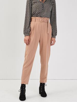 Pantalon paperbag boucle ronde camel femme