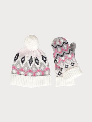 Set moufles bonnet motif multicolore gris clair femme