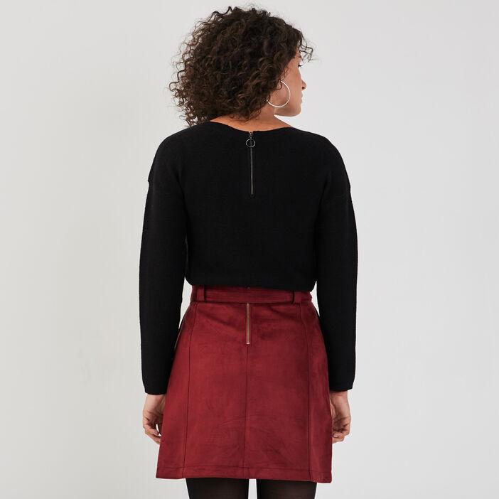 Pull manches longues dos zippé noir femme