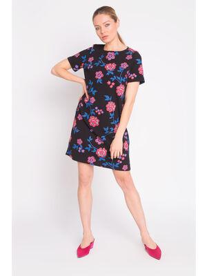 Robe droite imprimee fleuri noir femme