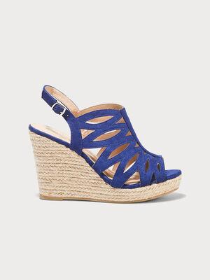 Sandales a talons compenses bleu electrique femme