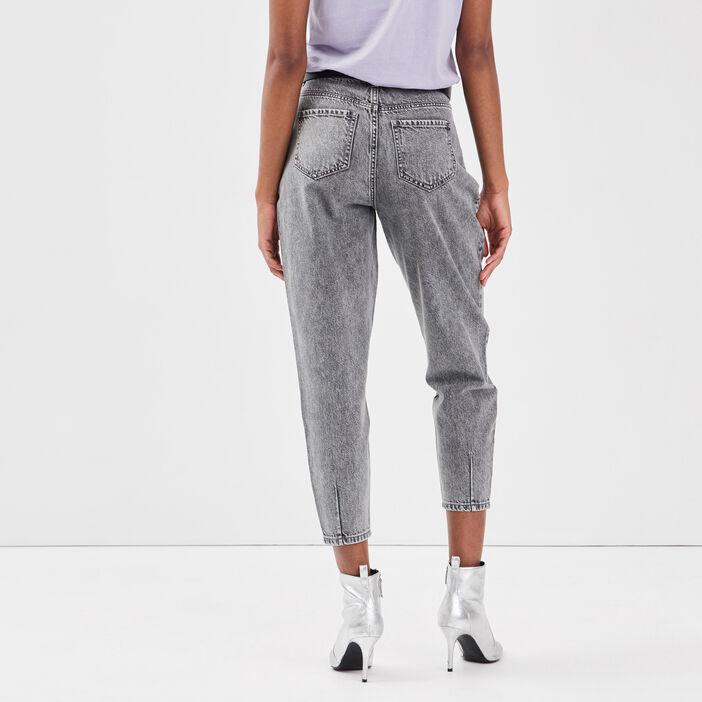 Jeans slouchy avec pinces denim gris femme