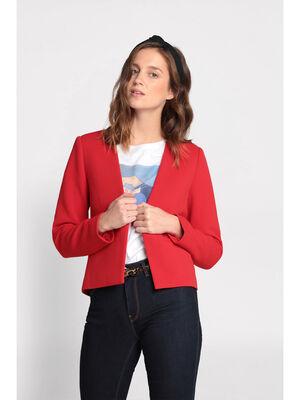 Veste cintree col en V rouge femme