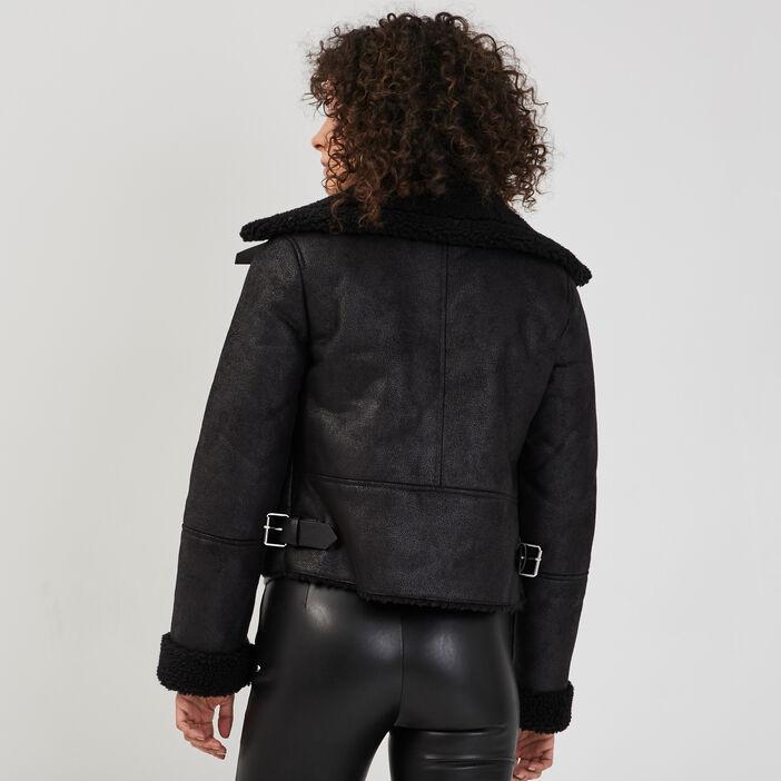 Blouson droit esprit biker noir femme
