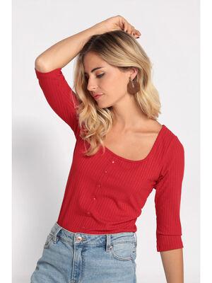 T shirt manches 34 cotele rouge femme