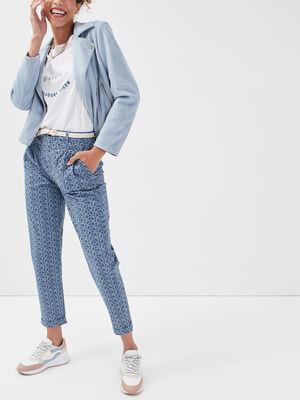 Pantalon chino ceinture bleu fonce femme