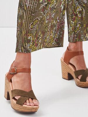 Sandales a talons perforees vert kaki femme