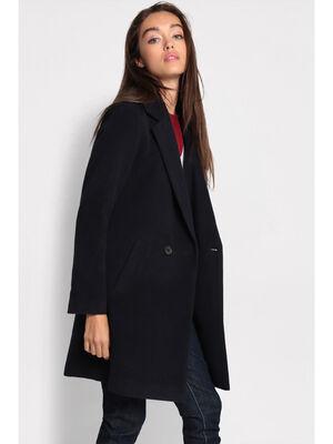 Manteau cintre col crante bleu marine femme