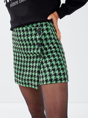Jupe short droite vert femme