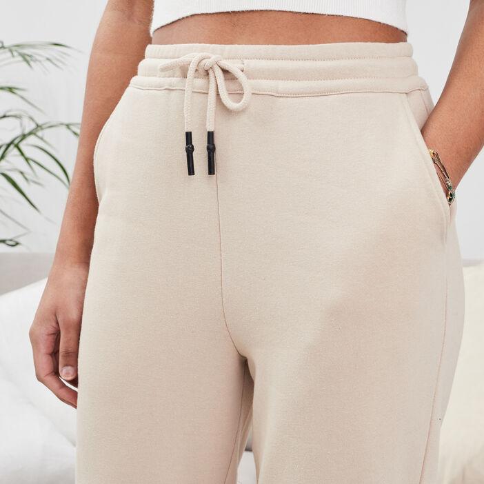 Pantalon jogging molletonné sable femme