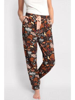 Bas pyjama taille a coulisse marron fonce femme