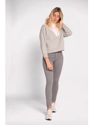 Pantalon slim 5 poches gris femme