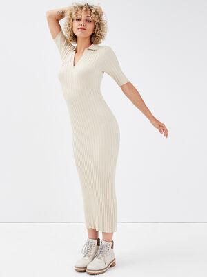 Robe pull longue ajustee sable femme