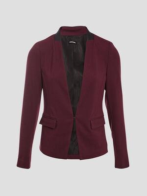 Veste blazer cintree 2 poches violet fonce femme