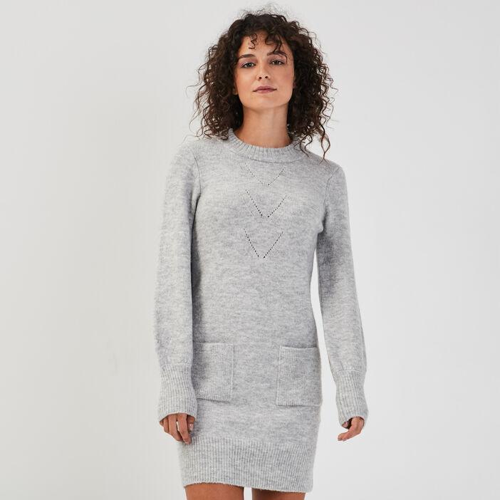 Robe pull droite gris clair femme