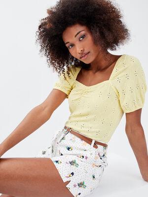 T shirt manches courtes jaune pastel femme