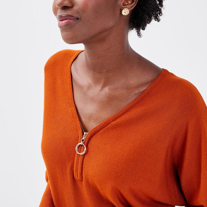 Pull avec col zippé marron cognac femme