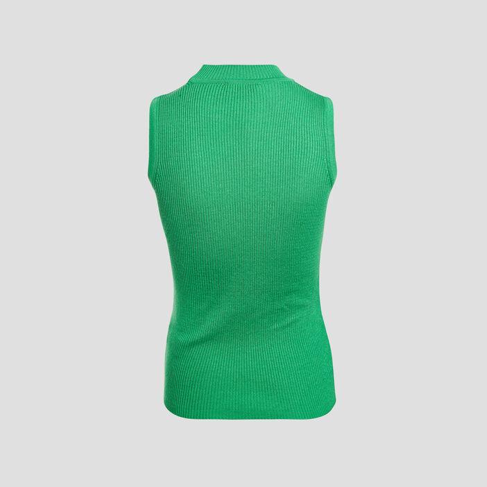 Pull débardeur col montant vert femme