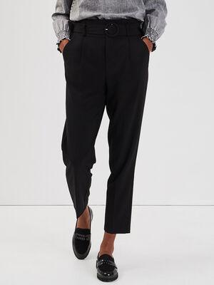 Pantalon paperbag boucle ronde noir femme