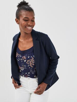 Veste blazer droite boutonne bleu marine femme