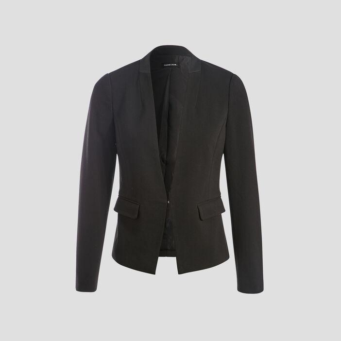 Veste blazer cintrée 2 poches noir femme
