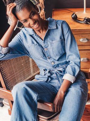 Salopette ceinturee en jean denim stone femme
