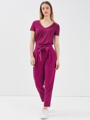 Pantalon paperbag violet fonce femme
