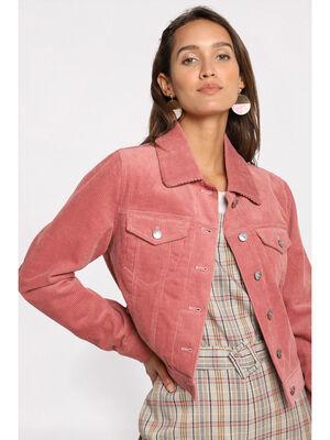 Veste droite en velours rose femme