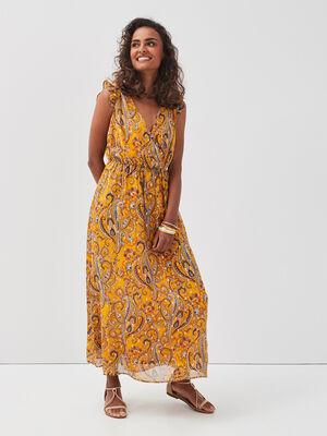 Robe longue evasee jaune or femme