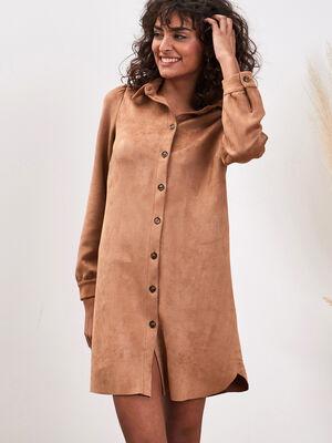 Robe chemise effet suedine beige femme