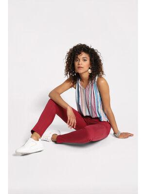 Jeans skinny push up bordeaux femme