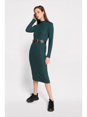Robe pull cotelee vert fonce femme