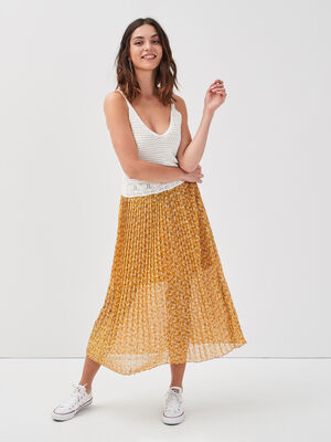 Jupe longue evasee plissee jaune moutarde femme