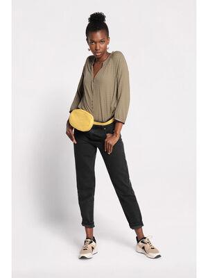 Chemise manches 34 avec plis vert kaki femme