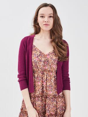 Gilet court manches 34 violet fonce femme