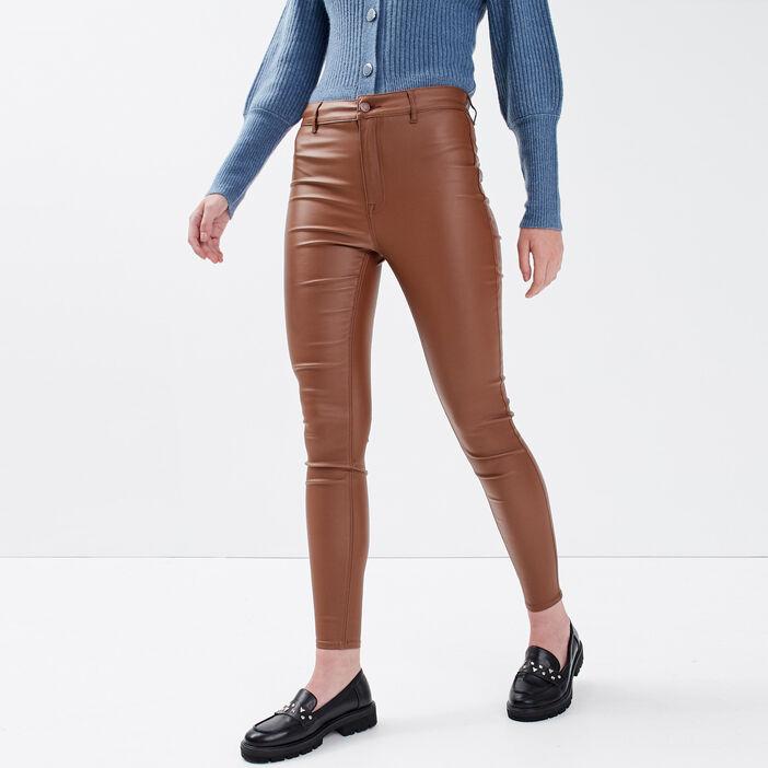 Pantalon skinny enduit marron femme