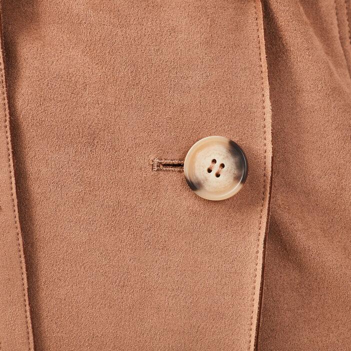 Trench long en suédine boutonné beige femme