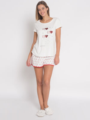 Bas de pyjama short coeurs ecru femme