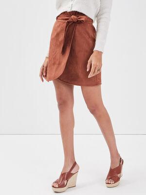 Jupe droite effet portefeuille marron femme
