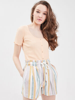 Short droit taille elastiquee blanc femme