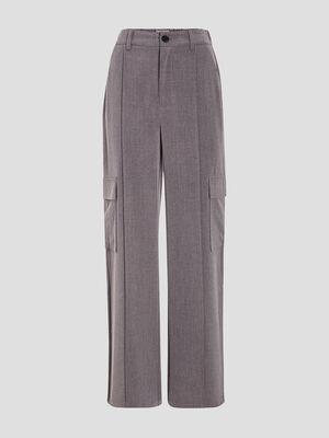 Pantalon large cargo gris fonce femme