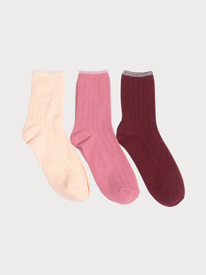 Lot 3 paires chaussettes rose clair femme