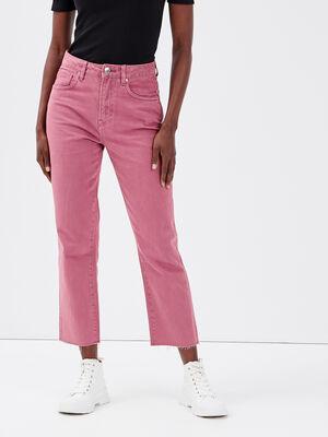 Jeans regular taille haute violet fonce femme