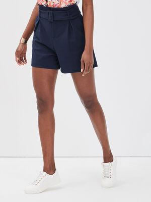 Short paperbag ceinture bleu marine femme