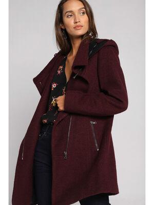 Manteau cintre asymetrique violet fonce femme