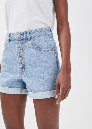 Short ample boutonne en jean denim bleach femme