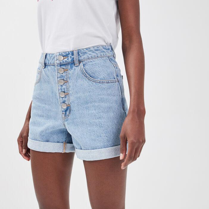 Short ample boutonné en jean denim bleach femme