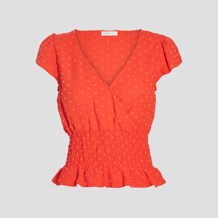 Blouse manches courtes orange femme